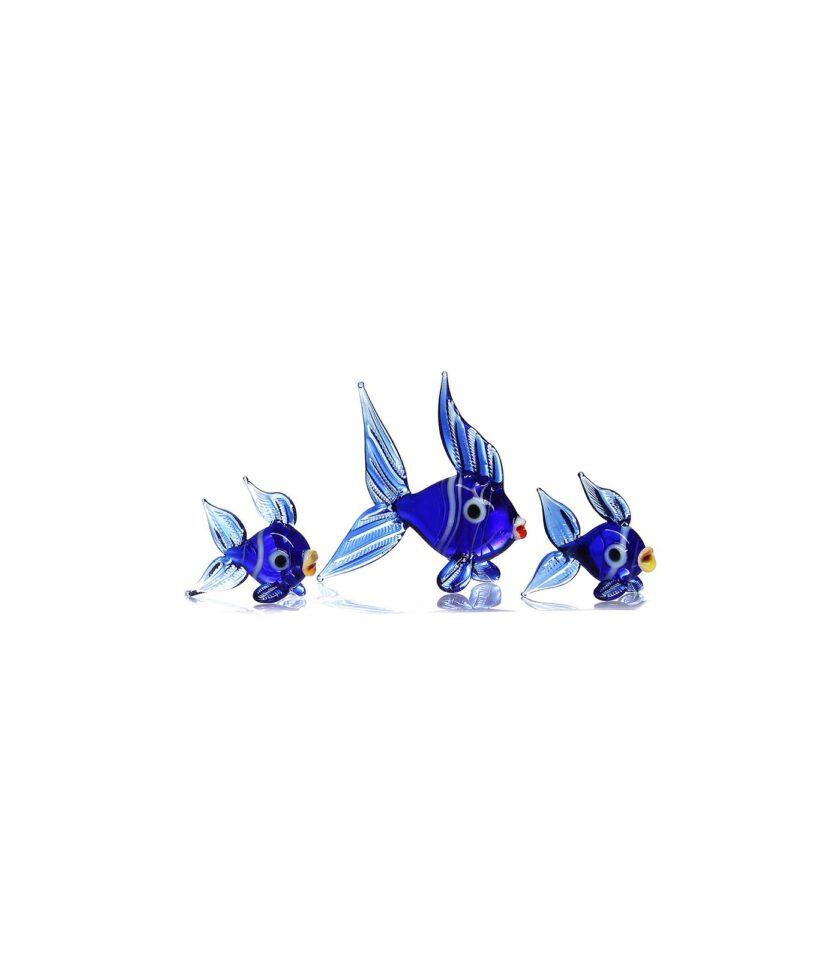 Mavi Balık Ailesi Cam Biblo