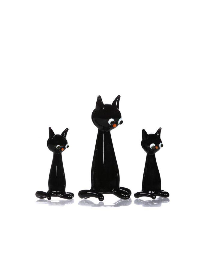Siyah Kedi Ailesi Cam Biblo